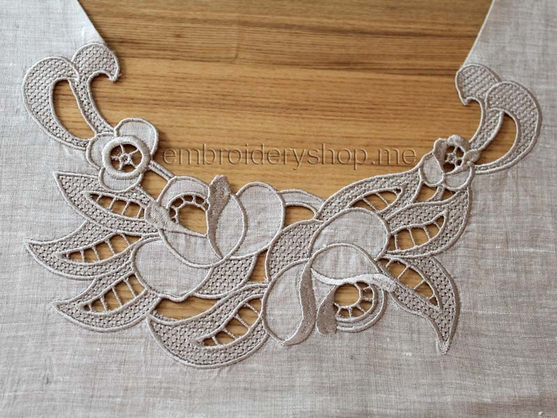Cutwork cut designs and fonts for embroidery machines