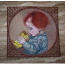 "Mouse Pad ""Boy with a duckling"" ppl0019"